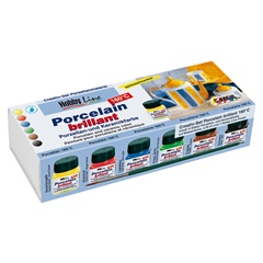 Colori per porcellana Brillant Hobby Line - set 6 x 20 ml   pennello