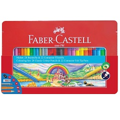 Conf. in metallo Faber-Castell - 28 matite colorate e 22 pennarelli