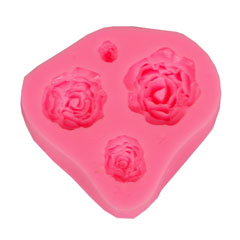 Forma in silicone - 4 rose 7x6.5x1.8 cm