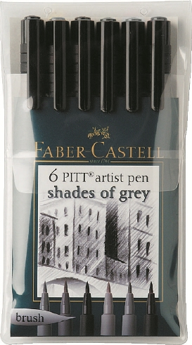 FABER-CASTELL INCHIOSTRO DI CHINA PENNA Pitt ARTIST PEN B BRUSH Shades of Grey 6er 167104