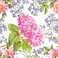 Tovaglioli per decoupage Pink Hydrangea and Forget-Me-Not Flower - 1 pezzo