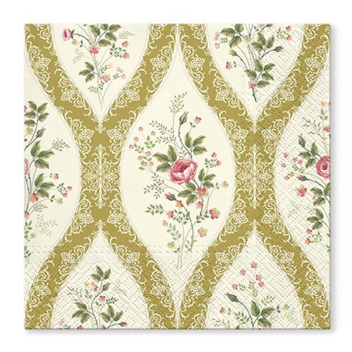 Tovaglioli per decoupage Wallpaper with flowers gold - 1 pezzo