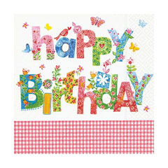 Tovagliolo per decoupage - Happy Birthday - 1 pz